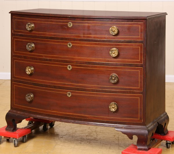 14: Early 1800 Hepplewhite bow front chest, mahogany, g