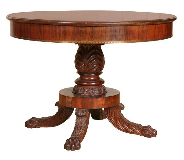 15: Fine early 1800 carved Federal center table, figure