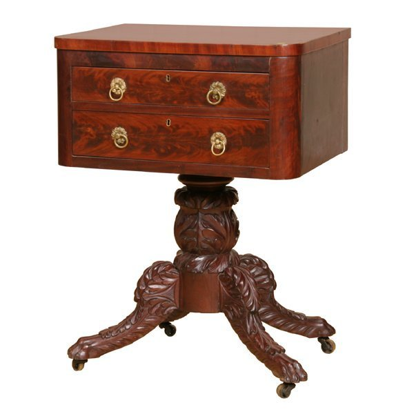 18: 1830 carved Federal two drawer stand, high grade fl