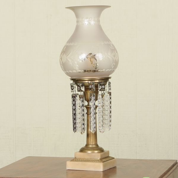19: Mid 1800 astral/solar lamp, double step white marbl