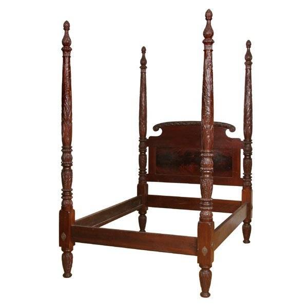 43: Mid 1800 carved Federal canopy bed, solid mahogany,