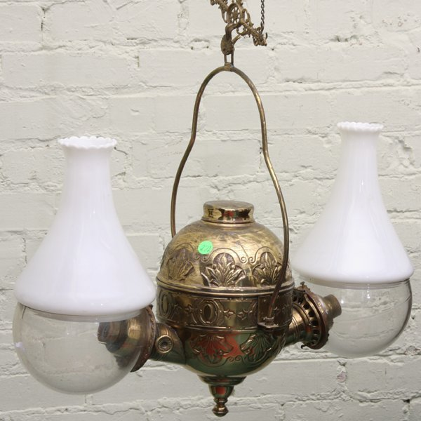 272: Victorian hanging double angle lamp, solid brass,