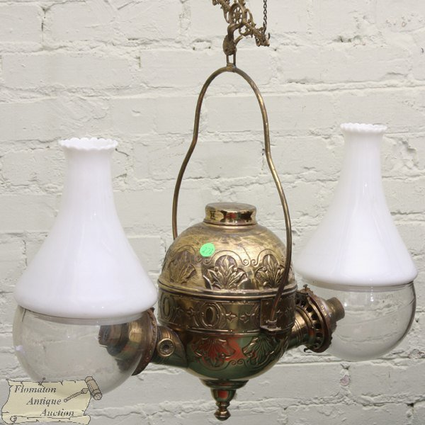1092: Victorian hanging double angle lamp, solid brass,