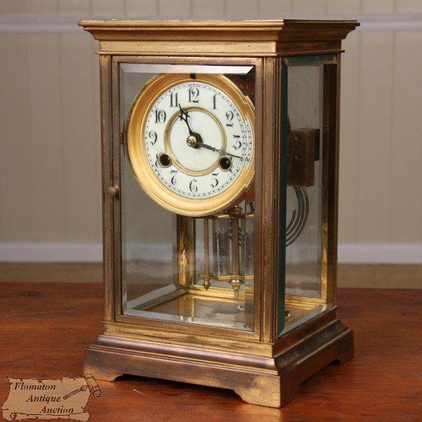 1: C1900 brass regulator clock, Waterbury, porcelain di