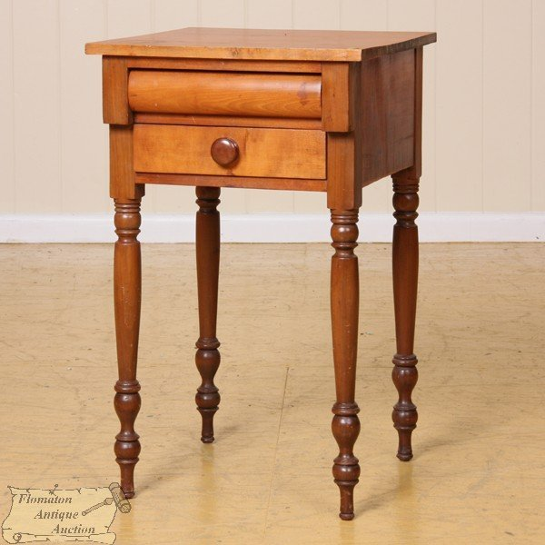 4: Early 1800 Sheraton two drawer stand, solid cherry,