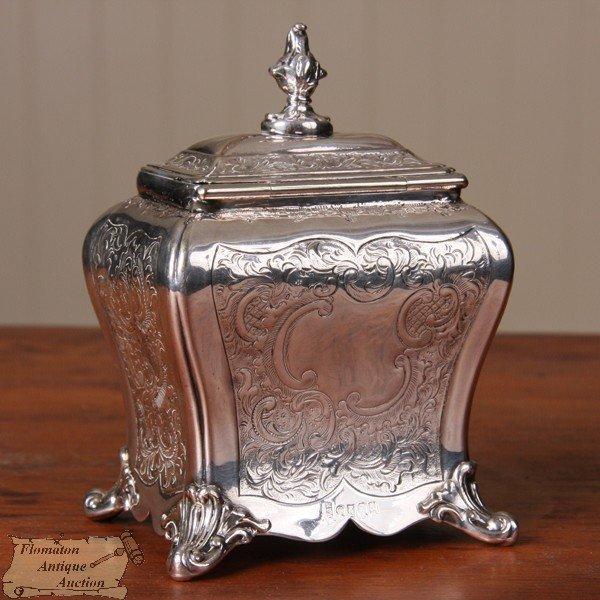 8: 19th Century Rococo tea caddy, probably Sheffield pl