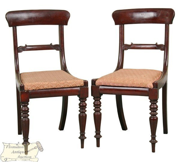 11: Pair fine early 1800 classical chairs, solid mahoga
