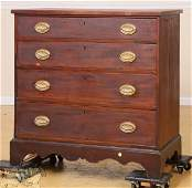 12: Early 1800 Hepplewhite four drawer chest, mahogany,