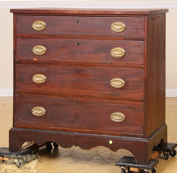 12: Early 1800 Hepplewhite four drawer chest, mahogany,