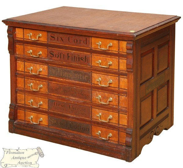 "13: Fine late 19th Century six drawer spool cabinet, ""W"