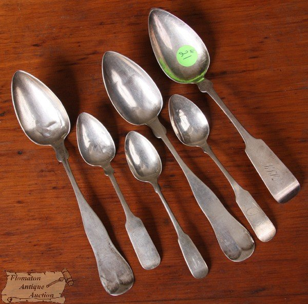 "21: Lot of six coin silver spoons, three 8""l, ""Palmer &"