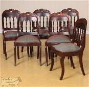 31: Set of six mid 1800 Empire saber leg dining chairs,
