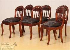 32: Set of six mid 1800 Empire saber leg dining chairs,