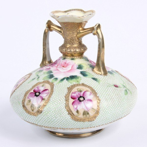3: Porcelain vase, Nippon, blue leaf mark, 1891-1921, h