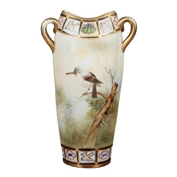 """5: Handpainted porcelain vase, """"Nippon"""", blue leaf mark"""