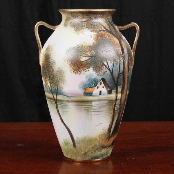 "6: Handpainted scenic porcelain vase, ""Nippon"", green M"