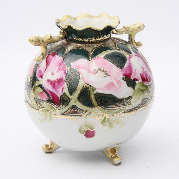 7: Small bulbous porcelain vase, Nippon, blue leaf mark