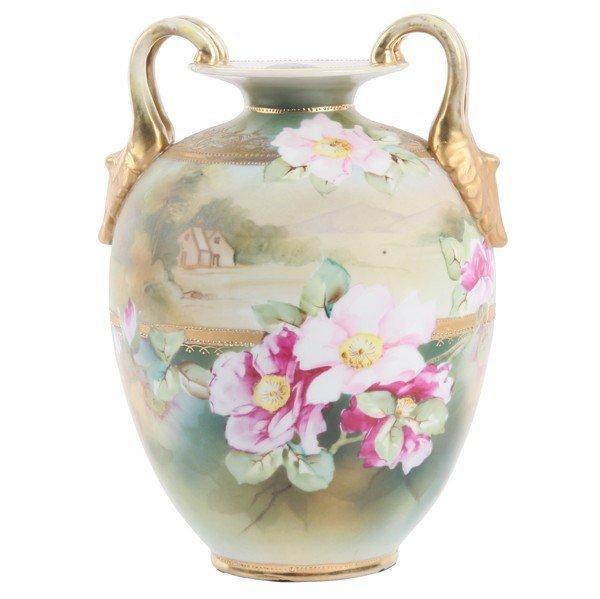 "11: Handpainted porcelain vase, ""Nippon"", blue wreath m"