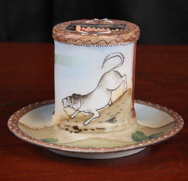 12: Rare porcelain match holder, Nippon, handpainted sc