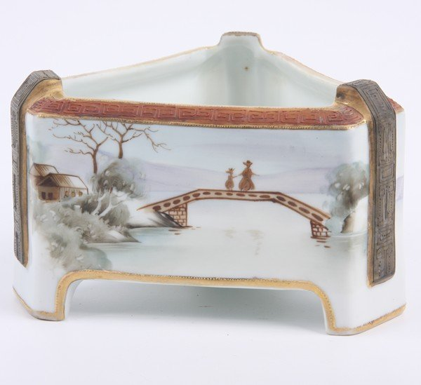 13: Handpainted porcelain bowl/fernery, Japan, Rising S