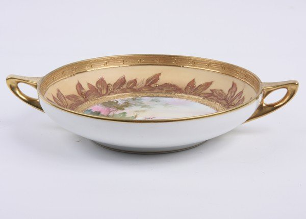 """15: Handpainted porcelain bowl, """"Nippon"""", green M in wr"""