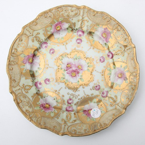 16: Porcelain plate, unsigned Nippon, raised gold decor