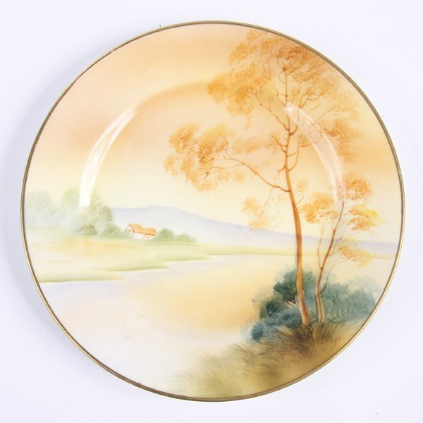 19: Porcelain plate, Nippon, green M in wreath, 1891-19