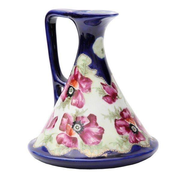 20: Porcelain ewer, unsigned Nippon, cobalt blue, handp