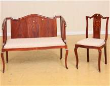35: C 1900 two piece art nouveau loveseat and chair, ma