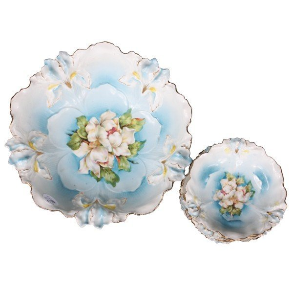 53: Seven piece porcelain berry set, R S Prussia, Iris