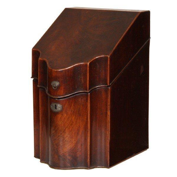 401: C1800 Hepplewhite knife box, mahogany, satinwood t