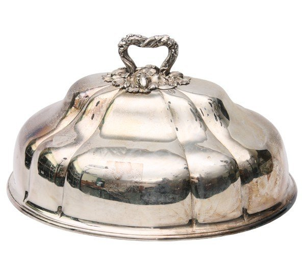 403: Large Sheffield plate serving dome, shaped fluted