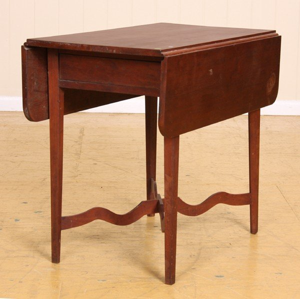 405: Early 1800 Hepplewhite Pembroke table, solid cherr