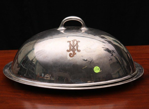 407: Large 19th century silverplate serving dome with u