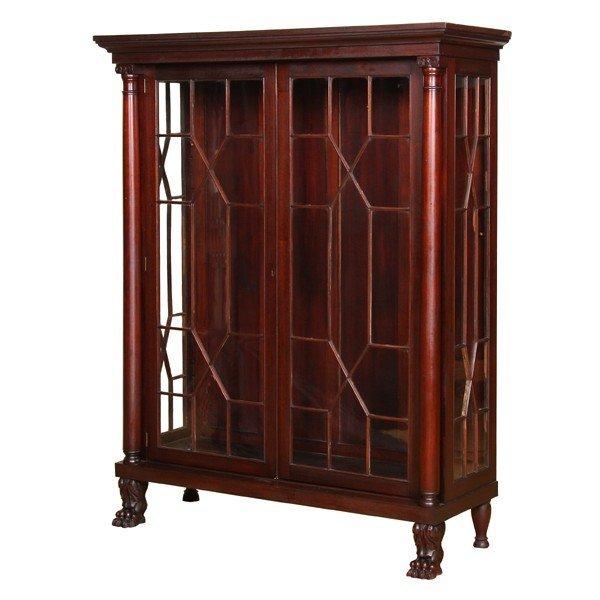 420: Fine late 19th C Empire Revival china cabinet, sol