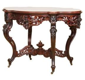 441: Mid 1800 Rococo Victorian laminated center table,