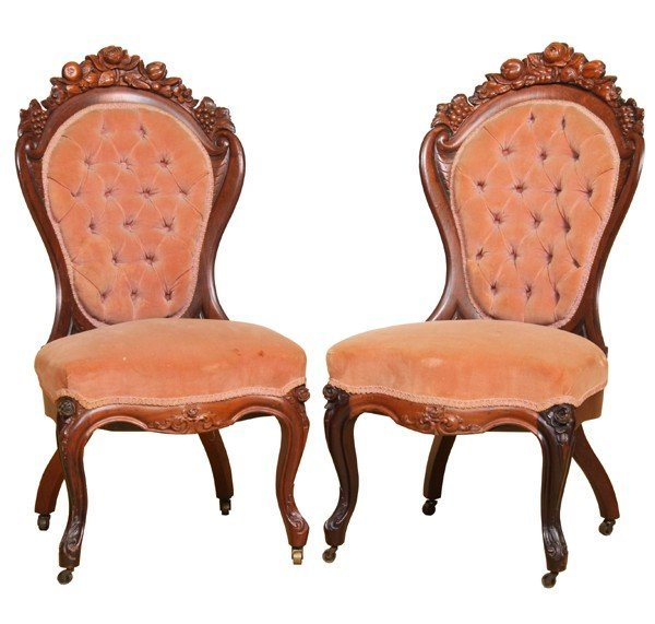 444: Pair Mid 1800 laminated side chairs, J H Belter, N