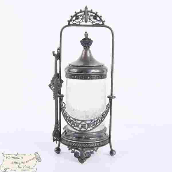 19th Century Victorian pickle castor, silverplate,