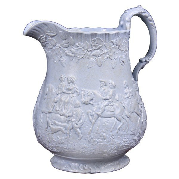 1001: Mid 19th Century earthenware pitcher, relief scen