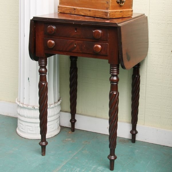 1003: Early 1800 Sheraton two drawer dropleaf stand, so