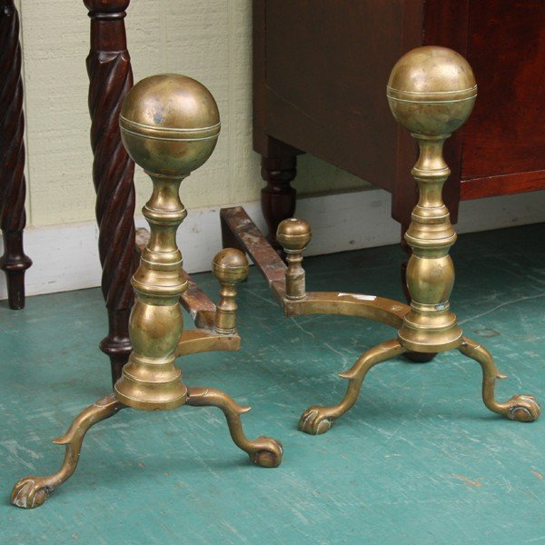 1008: Pair 19th Century solid brass andirons, large bal