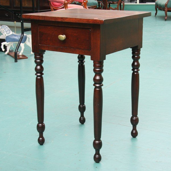 1011: Early 1800 Sheraton one drawer stand, solid cherr