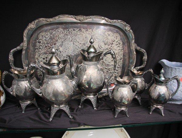 1017: Late 1800 Renaissance Victorian seven piece silve