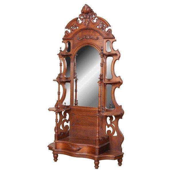 1020: 1870 Rococo Victorian etagere, solid walnut, reti