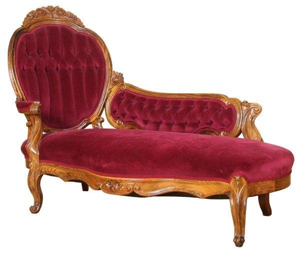 1021: Fine mid 1800 Rococo Victorian recamier, solid ro