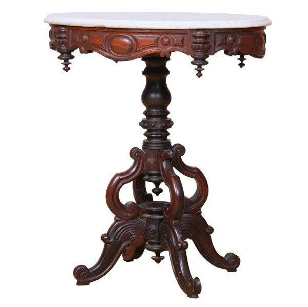 1022: Mid 1800 Rococo Victorian parlor table, solid ros