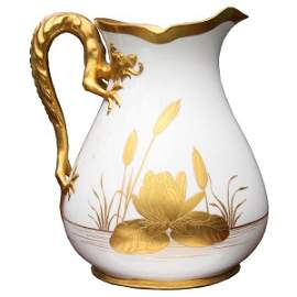 1023: Fine late 19th Century porcelain pitcher, probabl