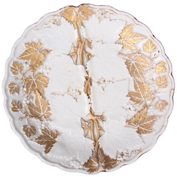 1024: Mid 1800 porcelain plate, probably Meissen, blue