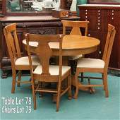 1079: Set of four C1900 Colonial Revival chairs, solid