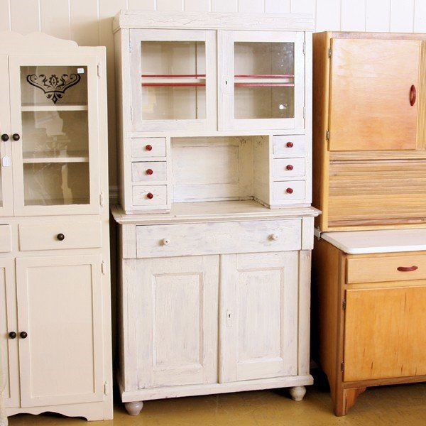 1324  early 1900 kitchen cabinet set back hutch top 3  rh   liveauctioneers com